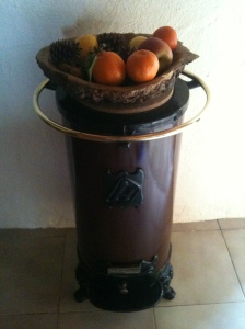Not such a blast from the past - our old almond-shell-burning stove