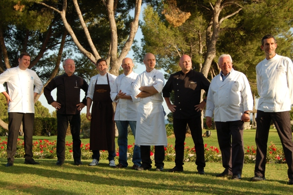 Eight chefs, one exceptional dinner, no power cut.  L-R: Martin Fauster, Otto Koch, Christian Juergens, Thomas Kammeier, Thomas Kahl (Es Fum, Mallorca), Marc Fosh (Simply Fosh, Palma de Mallorca), Eckart Witzigmann, and Iker Gonzalez