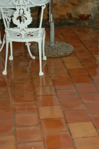 No coffee outside for us today! Tiles have had a much-needed wash . . .