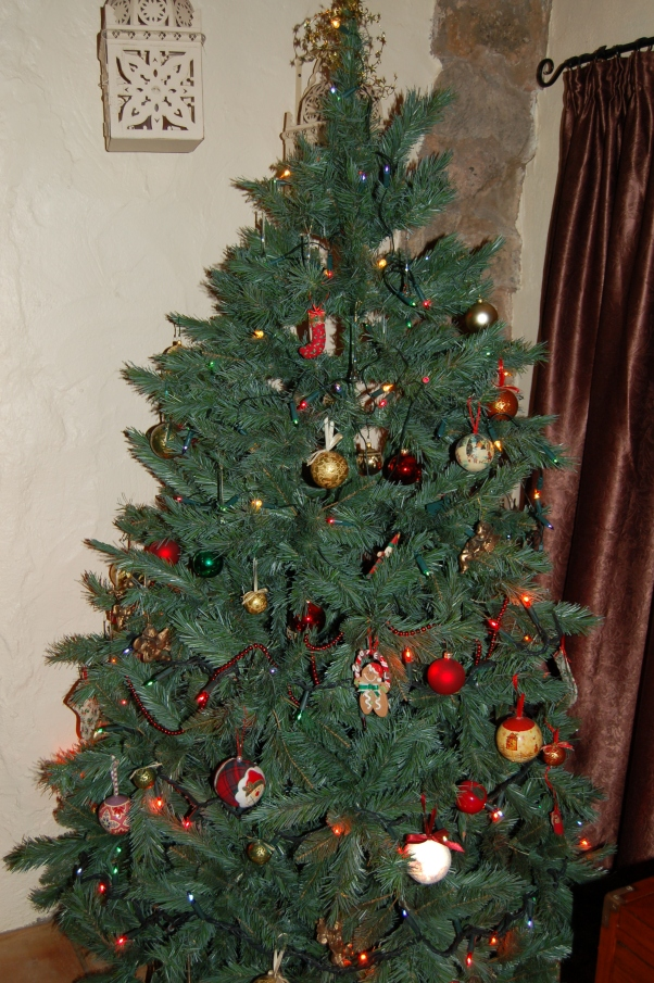 Our artificial Christmas tree - bought in Oxfordshire before we moved, but still going strong.