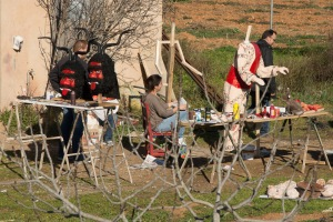 On a country walk recently we spotted some people preparing for Sant Antoni.