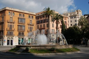 Fountain in Plaza de la Reina, in Palma de Mallorca
