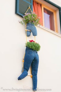 Old denim jeans as flower receptacles