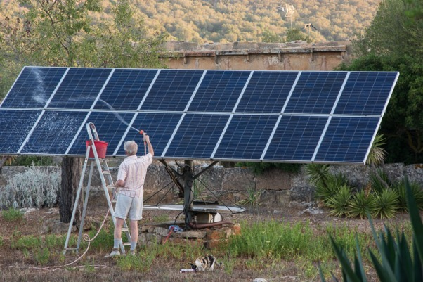 A summer wash for our solar panels. Note the presence of Pip - always ready to assist.