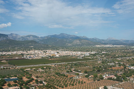 The Binissalem area of Mallorca from a helicopter.