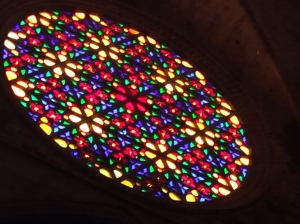 The large rose window welcomes in the sunshine.