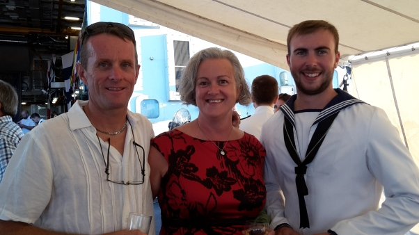 Guests at reception on HMS Duncan