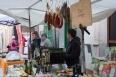 Market stall selling organic goods