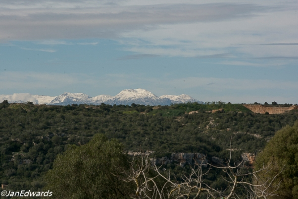 Snow on Majorcan mountains