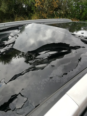 Another aspect of the storm damage to our car's sunroof